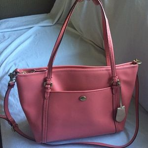 Auth Coach Crossbody Handbag Purse Salmon Colored
